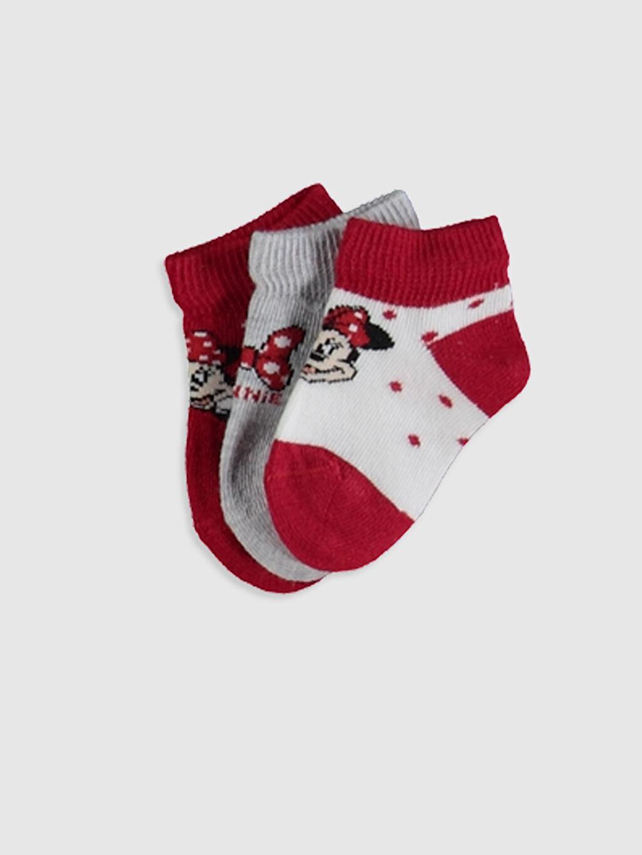 Beyaz Kız Bebek Minnie Mouse Baskılı Patik Çorap 3'lü 0SM752Z1 LC Waikiki