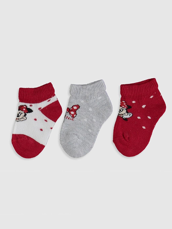%72 Pamuk %25 Poliamid %3 Elastane  Kız Bebek Minnie Mouse Baskılı Patik Çorap 3'lü