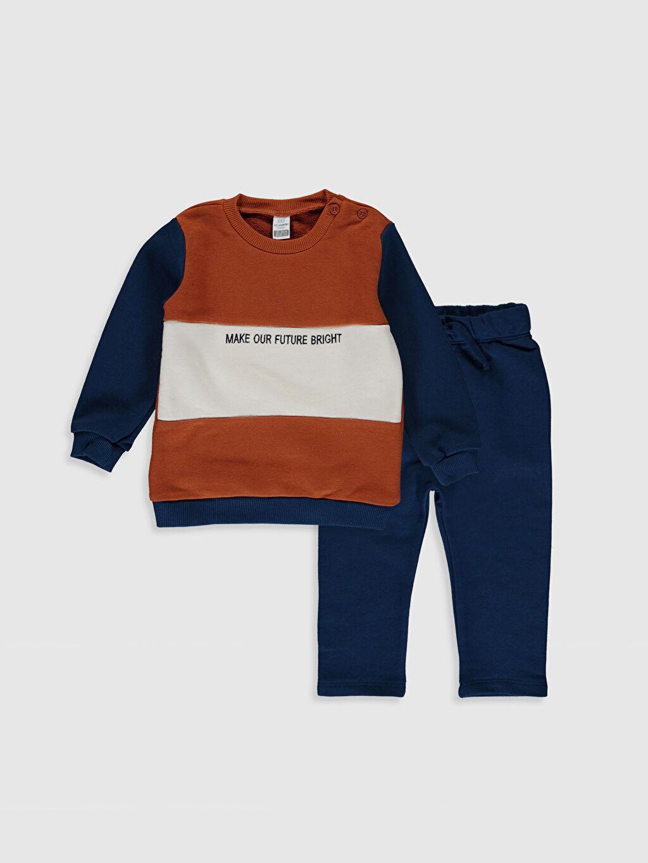 Turuncu Erkek Bebek Sweatshirt ve Eşofman Alt 2'li 0SN183Z1 LC Waikiki