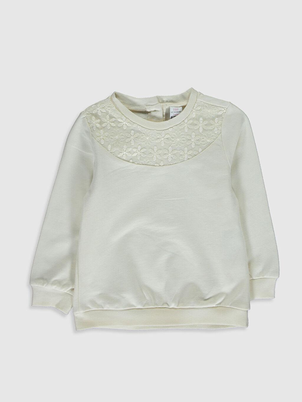 Ekru Kız Bebek Sweatshirt 0SN184Z1 LC Waikiki