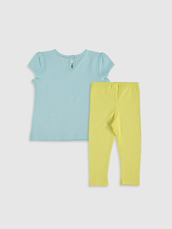 %100 Pamuk %94 Pamuk %6 Elastan  Kız Bebek Baskılı Tişört ve Tayt
