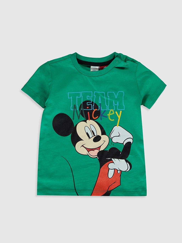 Yeşil Erkek Bebek Mickey Mouse Baskılı Tişört 0SN279Z1 LC Waikiki