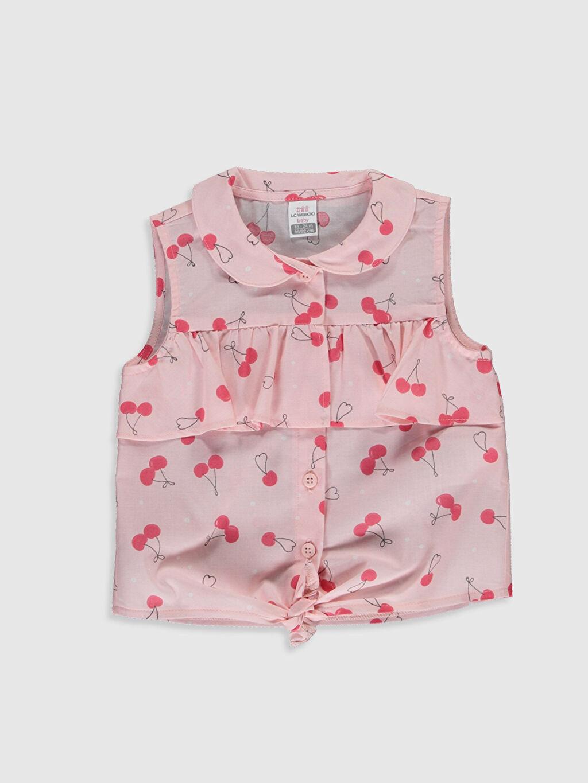 Pembe Kız Bebek Desenli Poplin Gömlek 0SN307Z1 LC Waikiki