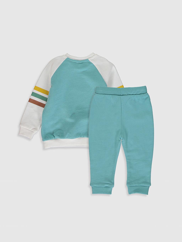 %100 Pamuk %100 Pamuk  Erkek Bebek Baskılı Sweatshirt ve Pantolon