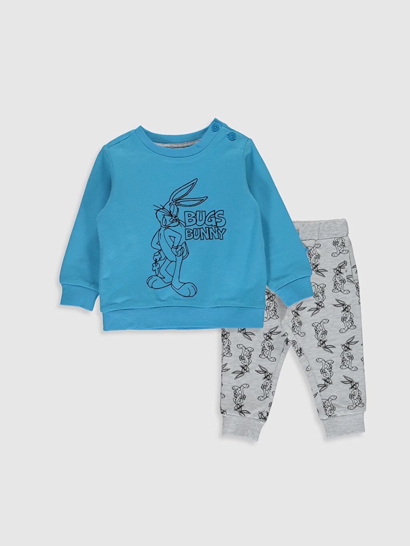 Mavi Erkek Bebek Bugs Bunny Desenli Sweatshirt ve Pantolon 0SN848Z1 LC Waikiki
