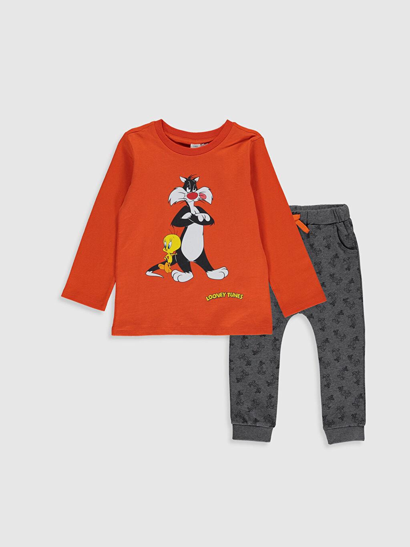 Turuncu Erkek Bebek Looney Tunes Baskılı Tişört ve Pantolon 0SN867Z1 LC Waikiki