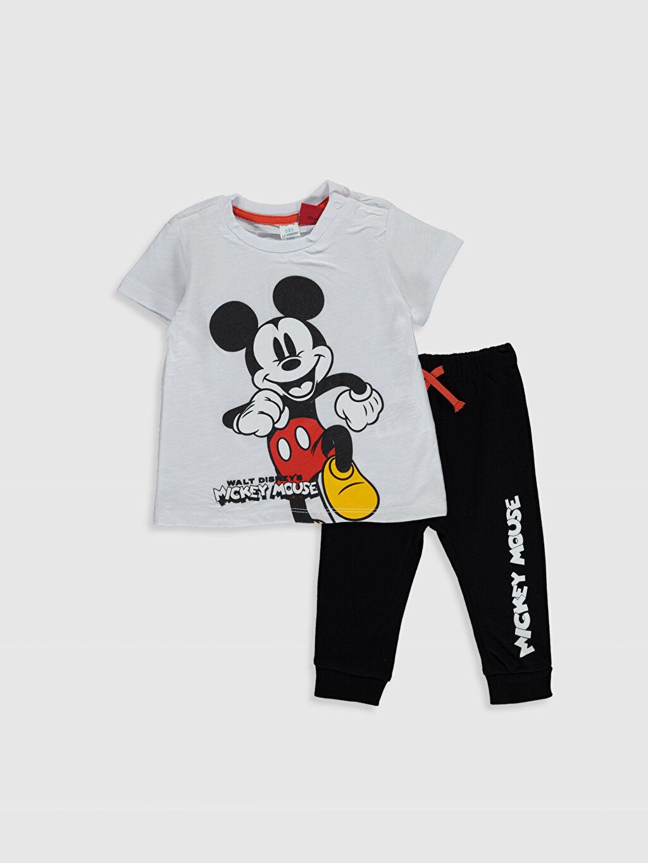 Beyaz Erkek Bebek Mickey Mouse Baskılı Tişört ve Pantolon 0SN870Z1 LC Waikiki