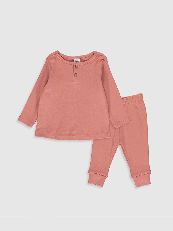 Mercan Kız Bebek Pamuklu Pijama Takımı 0SO028Z1 LC Waikiki