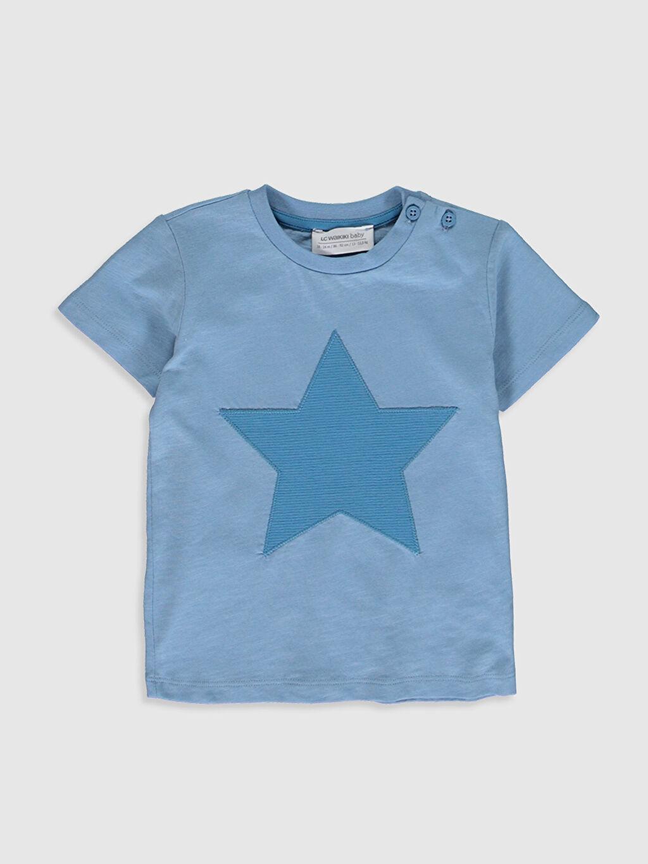 Mavi Erkek Bebek Desenli Pamuklu Tişört 0SO294Z1 LC Waikiki