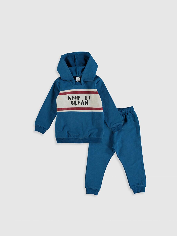 Mavi Erkek Bebek Baskılı Sweatshirt ve Eşofman Altı 0SO339Z1 LC Waikiki