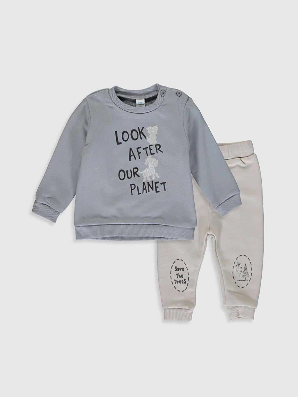 Gri Erkek Bebek Baskılı Sweatshirt ve Pantolon 0SO345Z1 LC Waikiki