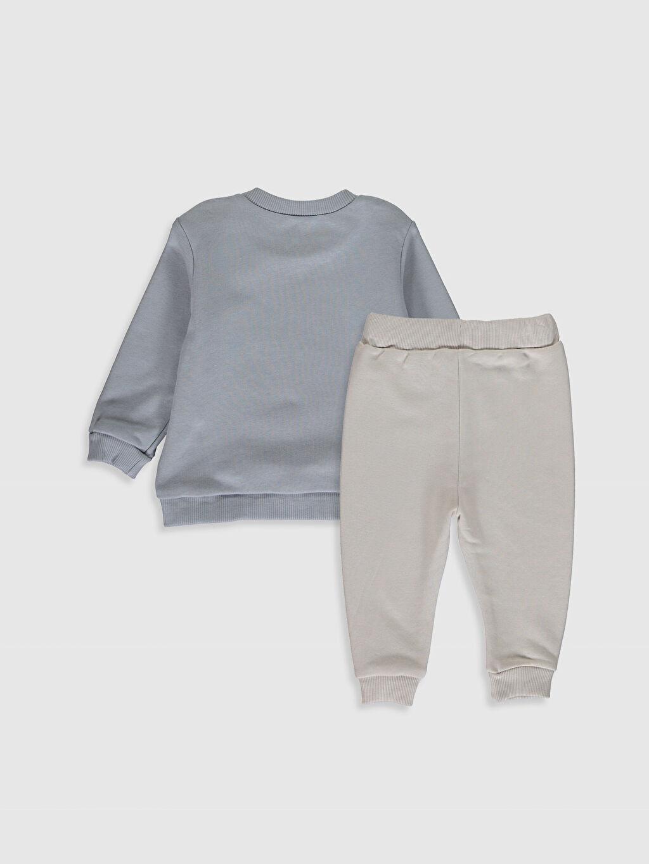 %87 Pamuk %13 Polyester  Erkek Bebek Baskılı Sweatshirt ve Pantolon
