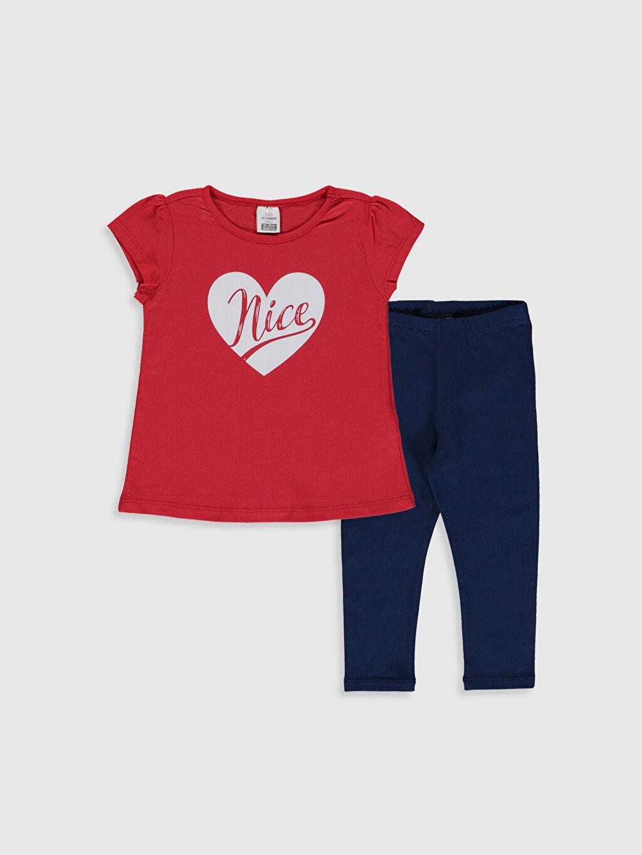 Kırmızı Kız Bebek Tişört ve Tayt 0SO854Z1 LC Waikiki