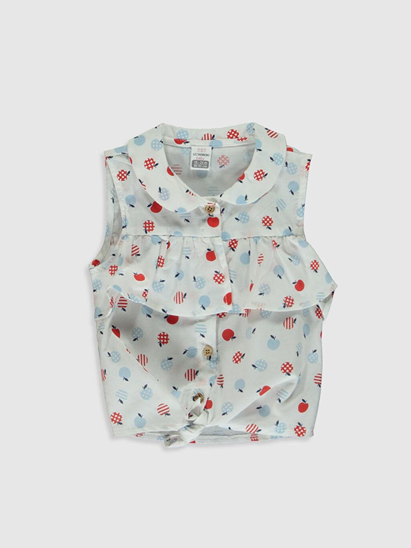 Beyaz Kız Bebek Baskılı Gömlek 0SA604Z1 LC Waikiki