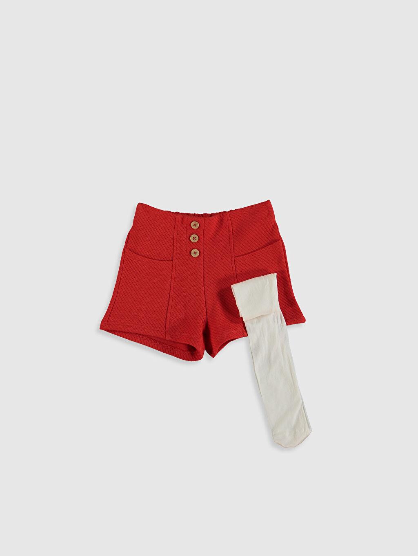 Kırmızı Kız Bebek Pamuklu Şort ve Külotlu Çorap 0SA605Z1 LC Waikiki