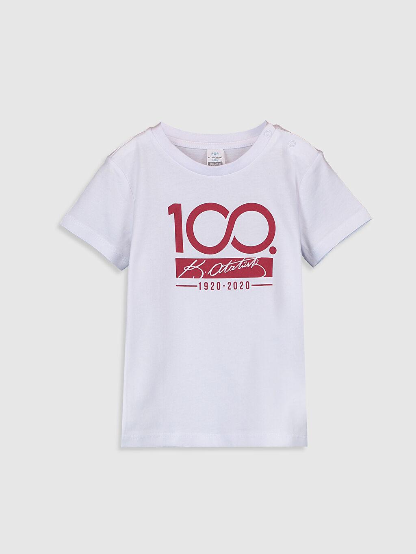 Beyaz Erkek Bebek Atatürk İmza Baskılı Tişört 0SA629Z1 LC Waikiki