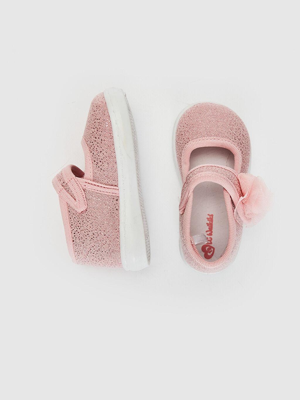%49 Pamuk %51 Polyester  Kız Bebek Cırt Cırtlı Babet Ayakkabı