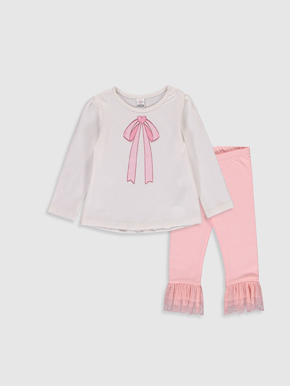 Ekru Kız Bebek Baskılı Pijama Takımı  0SB156Z1 LC Waikiki