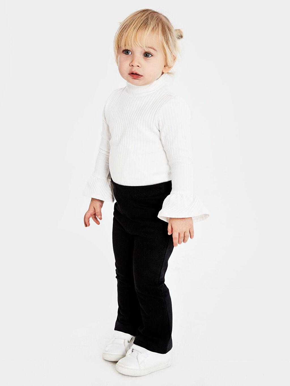 Kız Bebek Düz Uzun Kollu Balıkçı Yaka Tişört