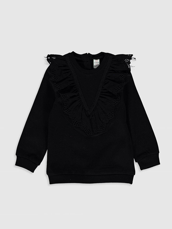 Siyah Kız Bebek Fırfırlı Sweatshirt 0SB288Z1 LC Waikiki