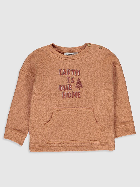 Turuncu Erkek Bebek Baskılı Sweatshirt 0SB514Z1 LC Waikiki