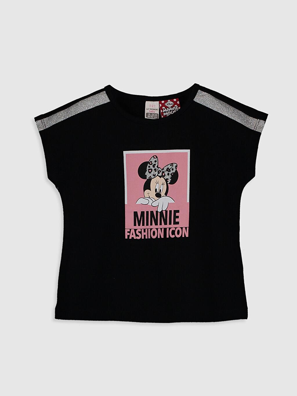 Siyah Kız Bebek Minnie Mouse Baskılı Tişört 0SC377Z1 LC Waikiki
