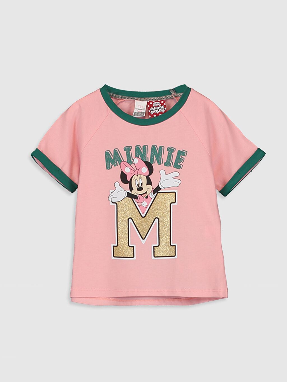 Pembe Kız Bebek Minnie Mouse Baskılı Pamuklu Tişört  0SC425Z1 LC Waikiki