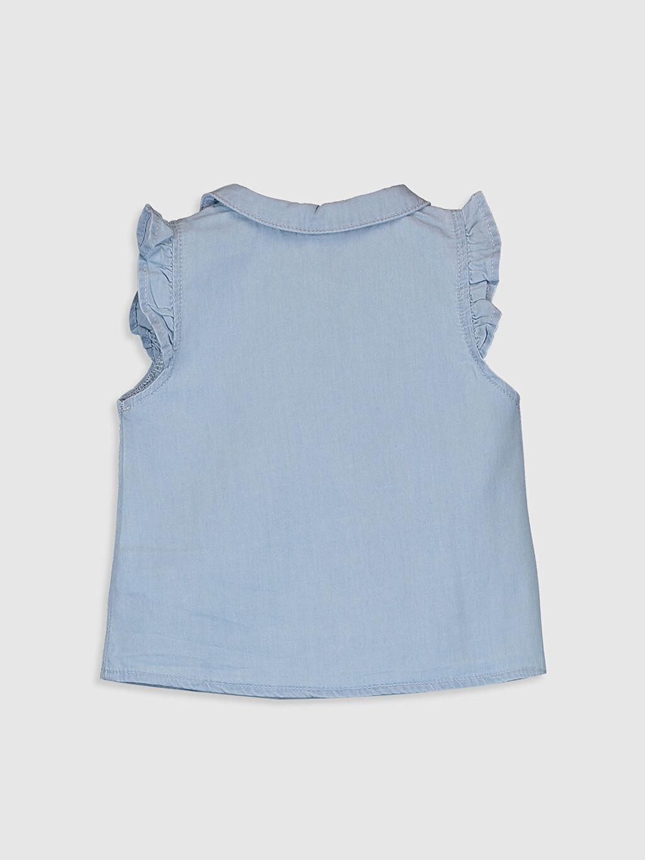 %100 Pamuk Düz Kısa Kol Kız Bebek Jean Gömlek