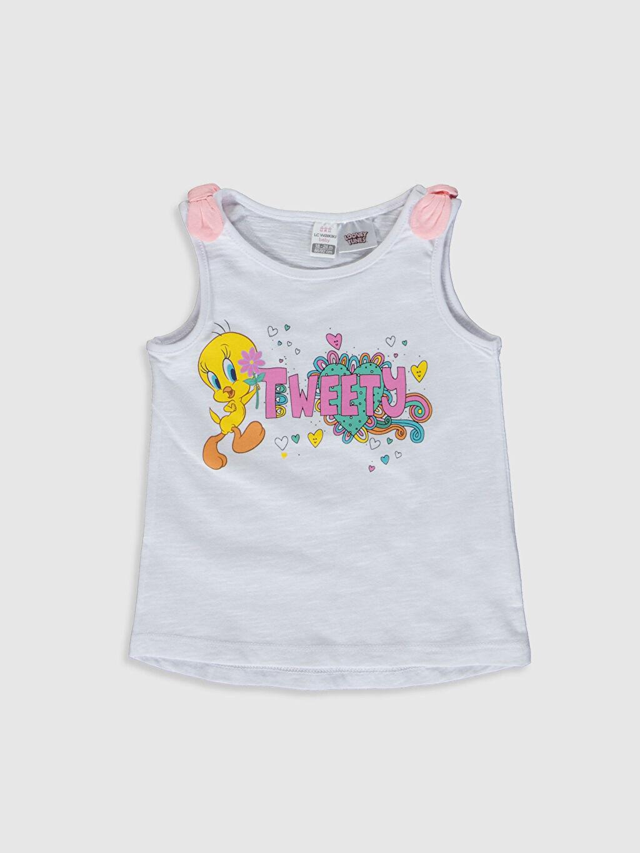 Beyaz Kız Bebek Tweety Baskılı Pamuklu Atlet 0SD199Z1 LC Waikiki