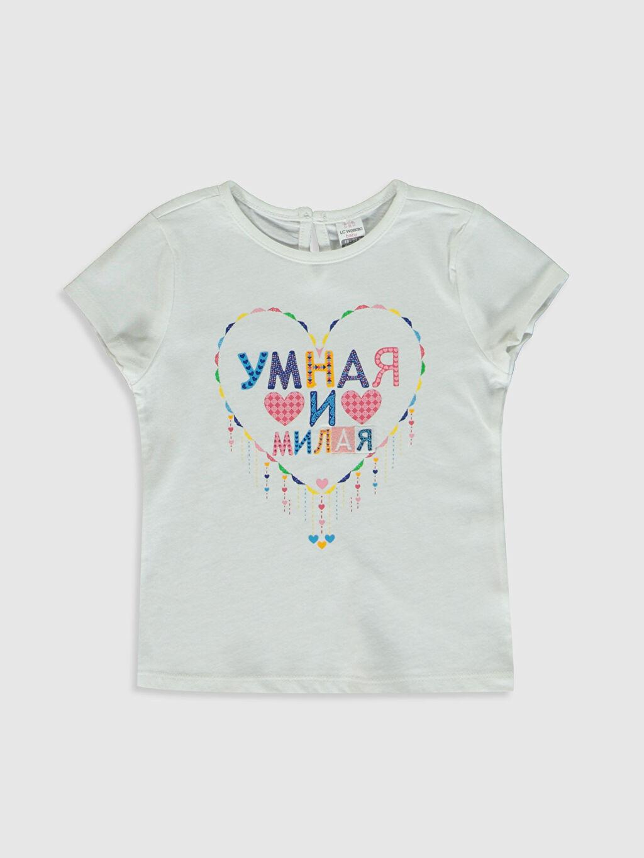 Beyaz Kız Bebek Baskılı Pamuklu Tişört  0SD266Z1 LC Waikiki
