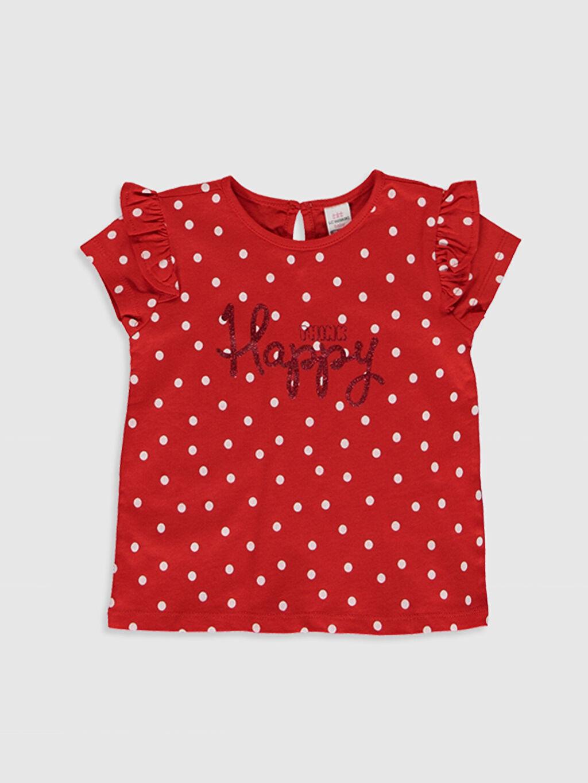 Kırmızı Kız Bebek Baskılı Pamuklu Tişört  0SD273Z1 LC Waikiki