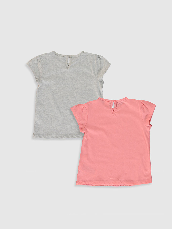 %67 Pamuk %33 Polyester Baskılı Kısa Kol Tişört Bisiklet Yaka Kız Bebek Baskılı Tişört 2'li