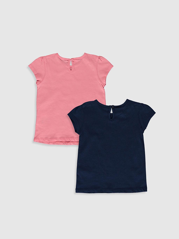 %100 Pamuk Baskılı Kısa Kol Tişört Bisiklet Yaka Kız Bebek Desenli Tişört 2'li