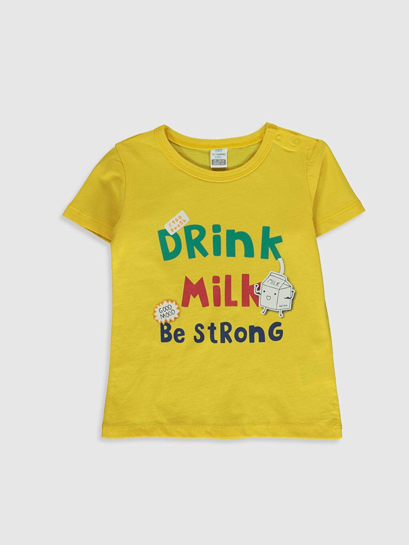 Sarı Erkek Bebek Baskılı Pamuklu Tişört 0SD534Z1 LC Waikiki