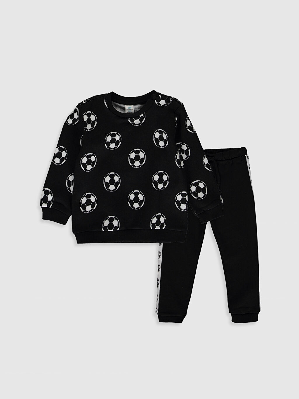 Siyah Erkek Bebek Desenli Sweatshirt ve Pantolon 0SE130Z1 LC Waikiki