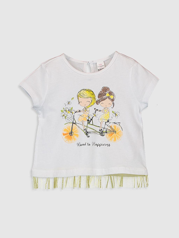 Beyaz Kız Bebek Baskılı Pamuklu Tişört  0SE260Z1 LC Waikiki