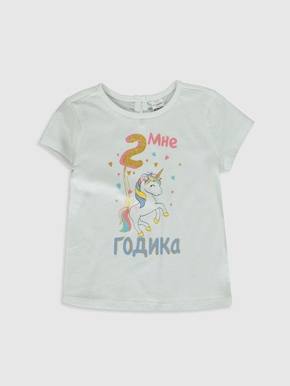 Beyaz Kız Bebek Baskılı Pamuklu Tişört  0SE368Z1 LC Waikiki