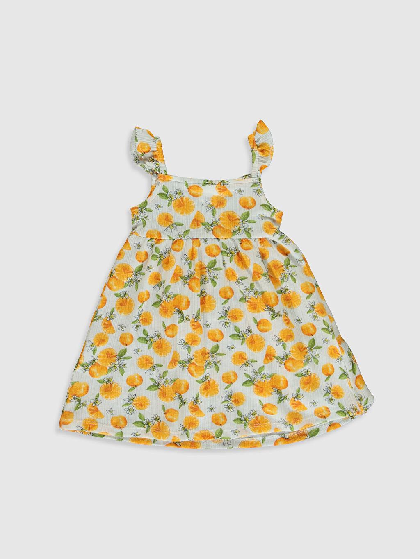 %65 Pamuk %35 Polyester Desenli Kız Bebek Baskılı Elbise