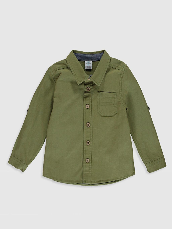 Yeşil Erkek Bebek Pamuklu Gömlek 0SF072Z1 LC Waikiki