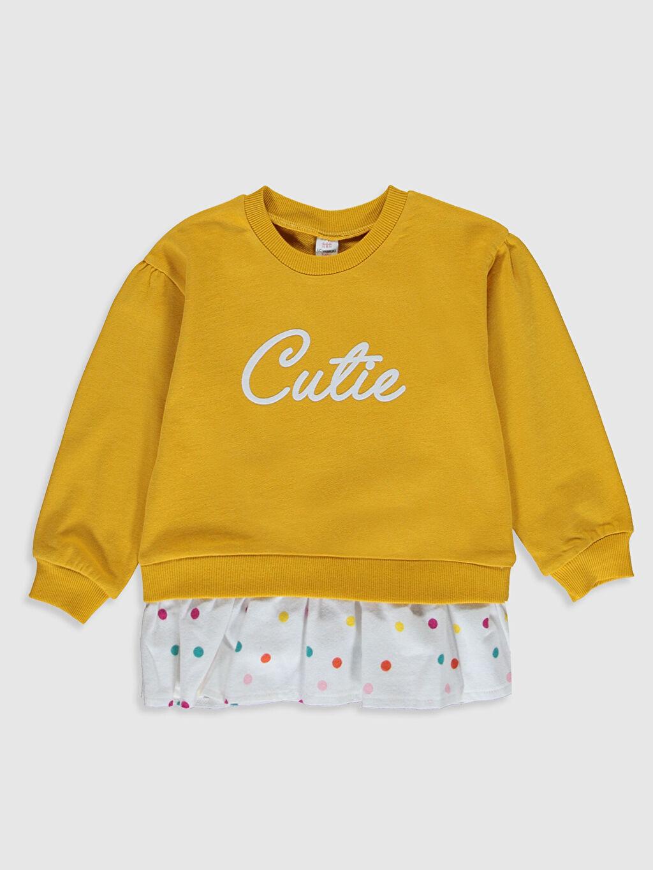 Sarı Kız Bebek Yazı Baskılı Sweatshirt 0SF142Z1 LC Waikiki