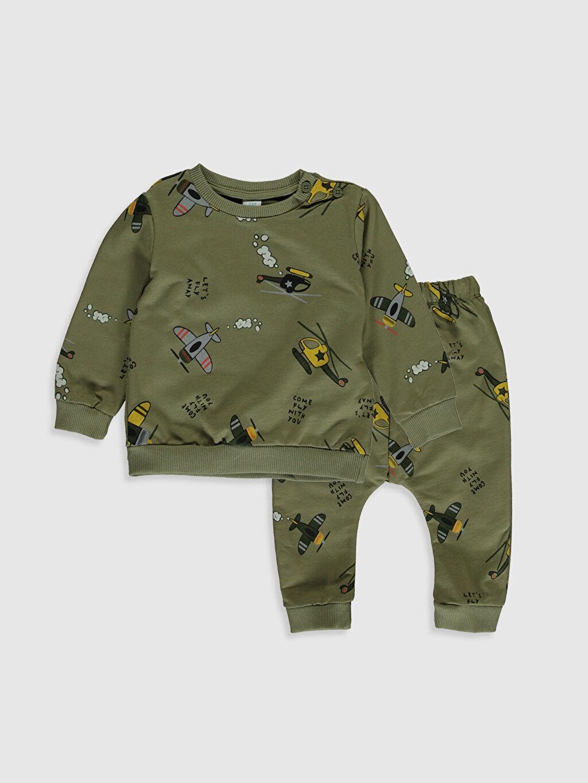 Haki Erkek Bebek Baskılı Sweatshirt ve Pantolon 0SF205Z1 LC Waikiki