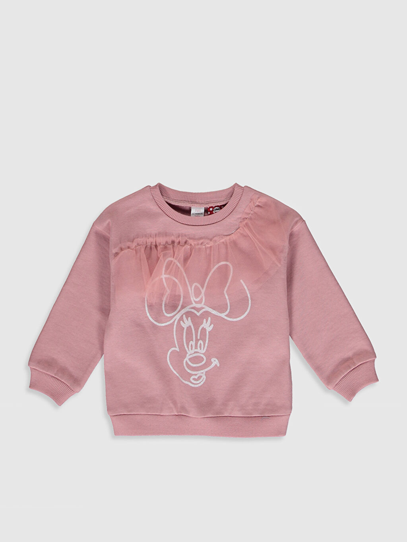Pembe Kız Bebek Minnie Mouse Baskılı Sweatshirt 0SF265Z1 LC Waikiki