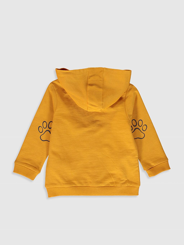 %100 Pamuk  Erkek Bebek Baskılı Kapüşonlu Fermuarlı Sweatshirt