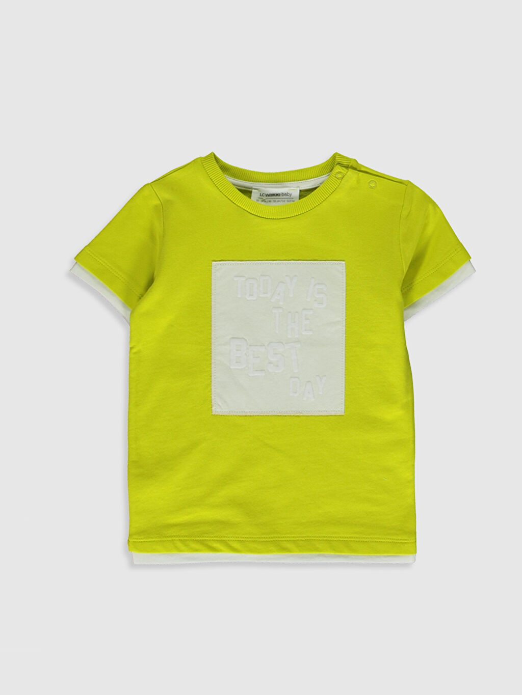 Yeşil Erkek Bebek Yazı Baskılı Pamuklu Tişört 0SF472Z1 LC Waikiki