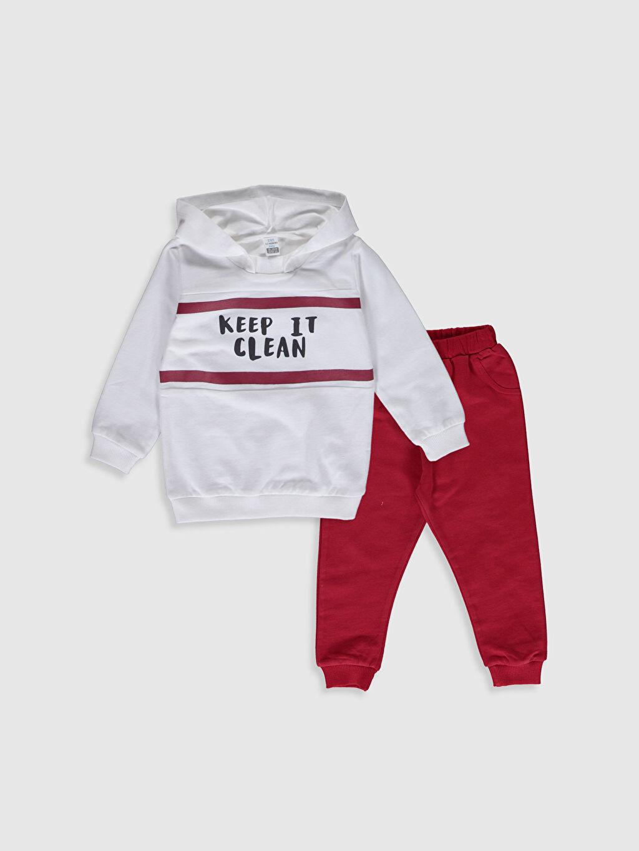 Ekru Erkek Bebek Baskılı Sweatshirt ve Eşofman Altı 0SP078Z1 LC Waikiki