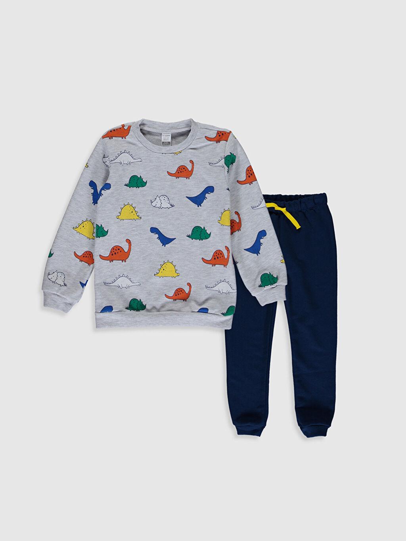 Lacivert Erkek Bebek Desenli Sweatshirt ve Pantolon 0SP310Z1 LC Waikiki