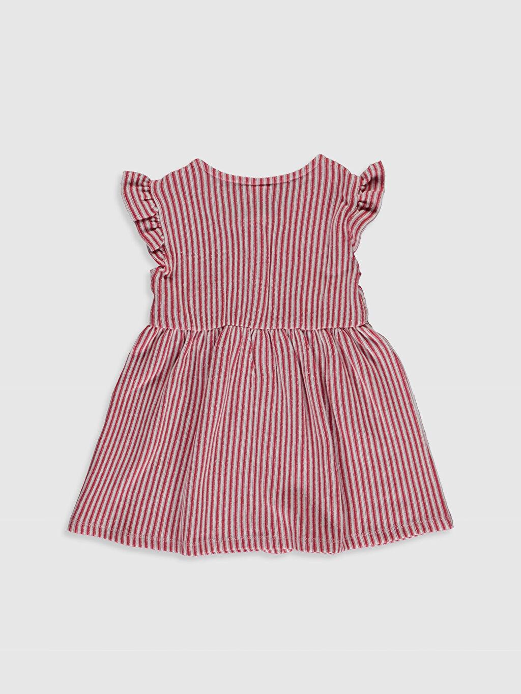 %68 Pamuk %32 Polyester Diz Üstü Çizgili Kız Bebek Çizgili Elbise