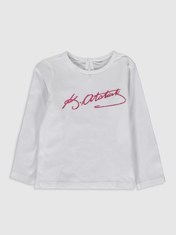 Beyaz Kız Bebek Atatürk İmza Baskılı Tişört 0SQ205Z1 LC Waikiki