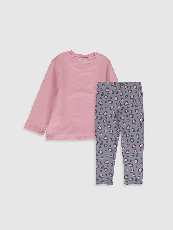 %100 Pamuk %96 Pamuk %4 Elastan  Kız Bebek Desenli Tişört ve Pantolon
