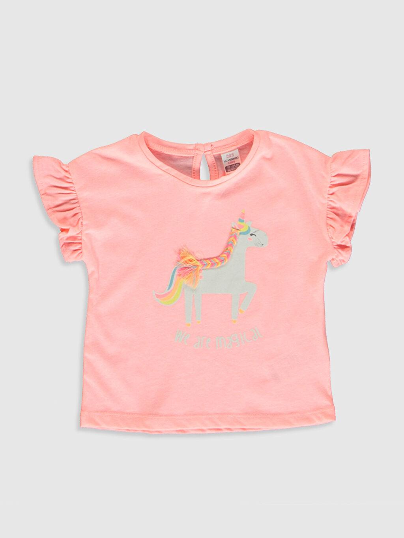 Pembe Kız Bebek Unicorn Desenli Tişört 0SR176Z1 LC Waikiki